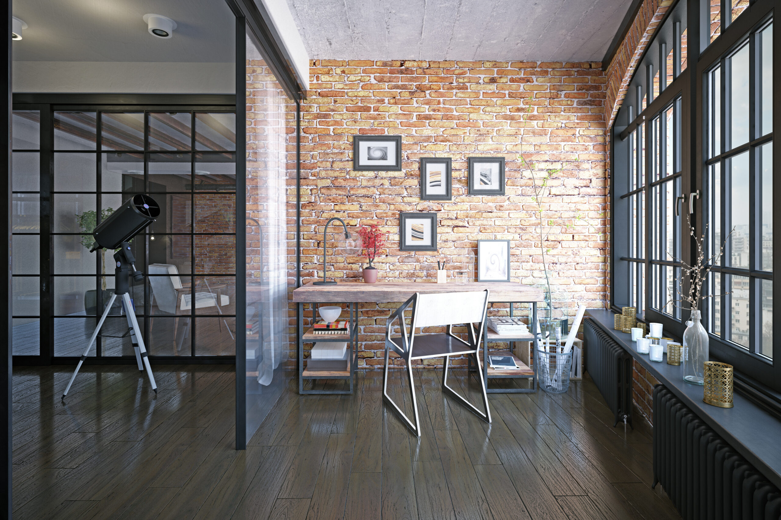 modern loft study interior. 3d rendering drsign project